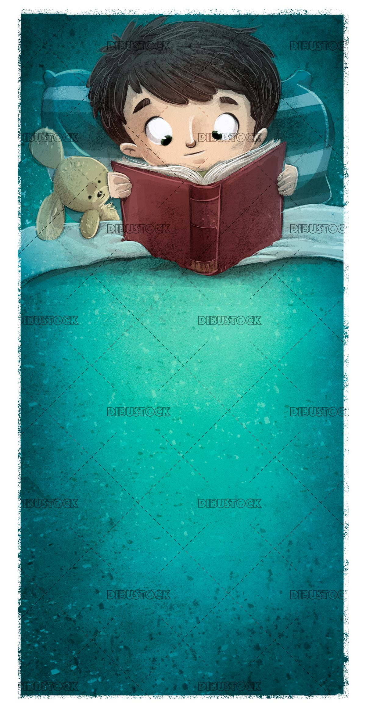 boy in bed reading a book with his stuffed toy
