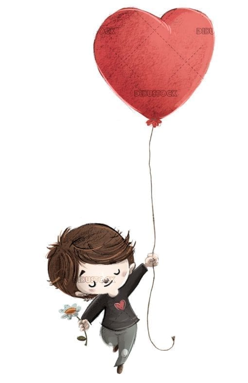 boy in love flying with a heart shaped balloon isolated