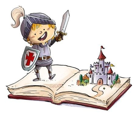 boy knight and castle in book