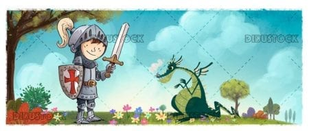 boy knight with sword and dragon in nature