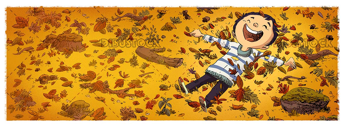 boy lying in the forest in autumn