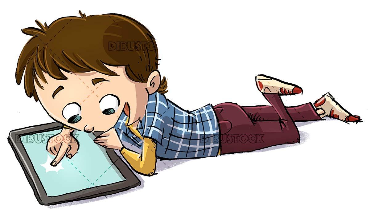 boy lying using a tablet