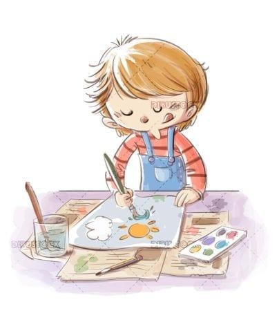 boy painting with watercolors and brush a drawing