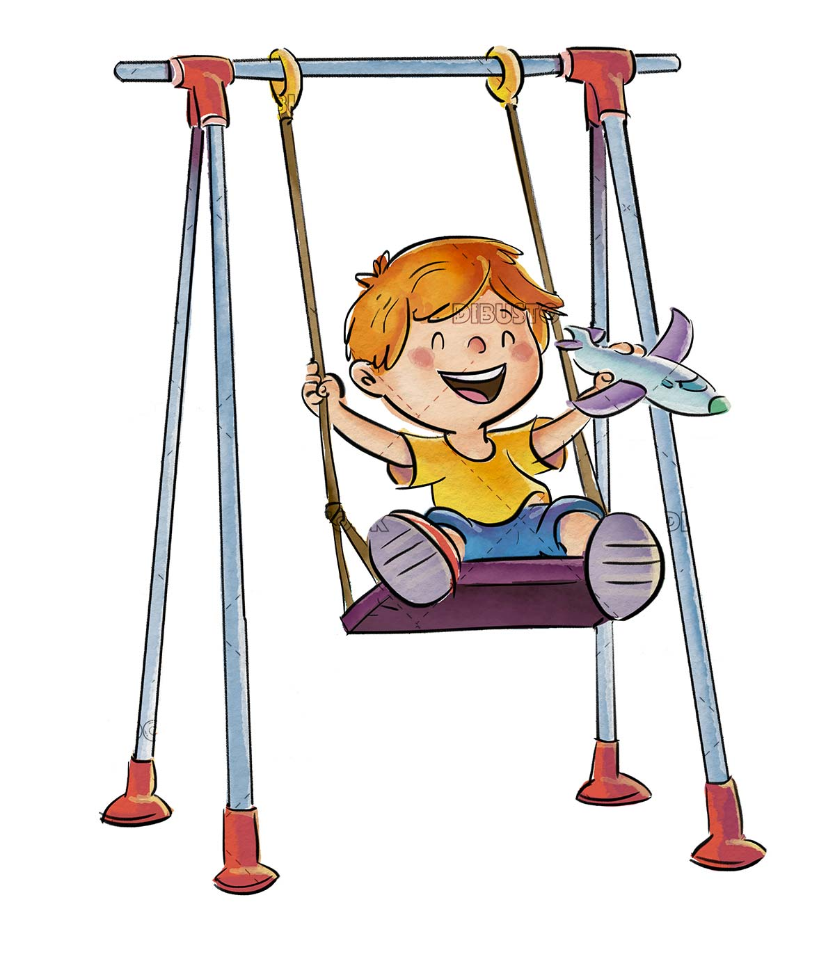 boy playing on a swing on isolated background