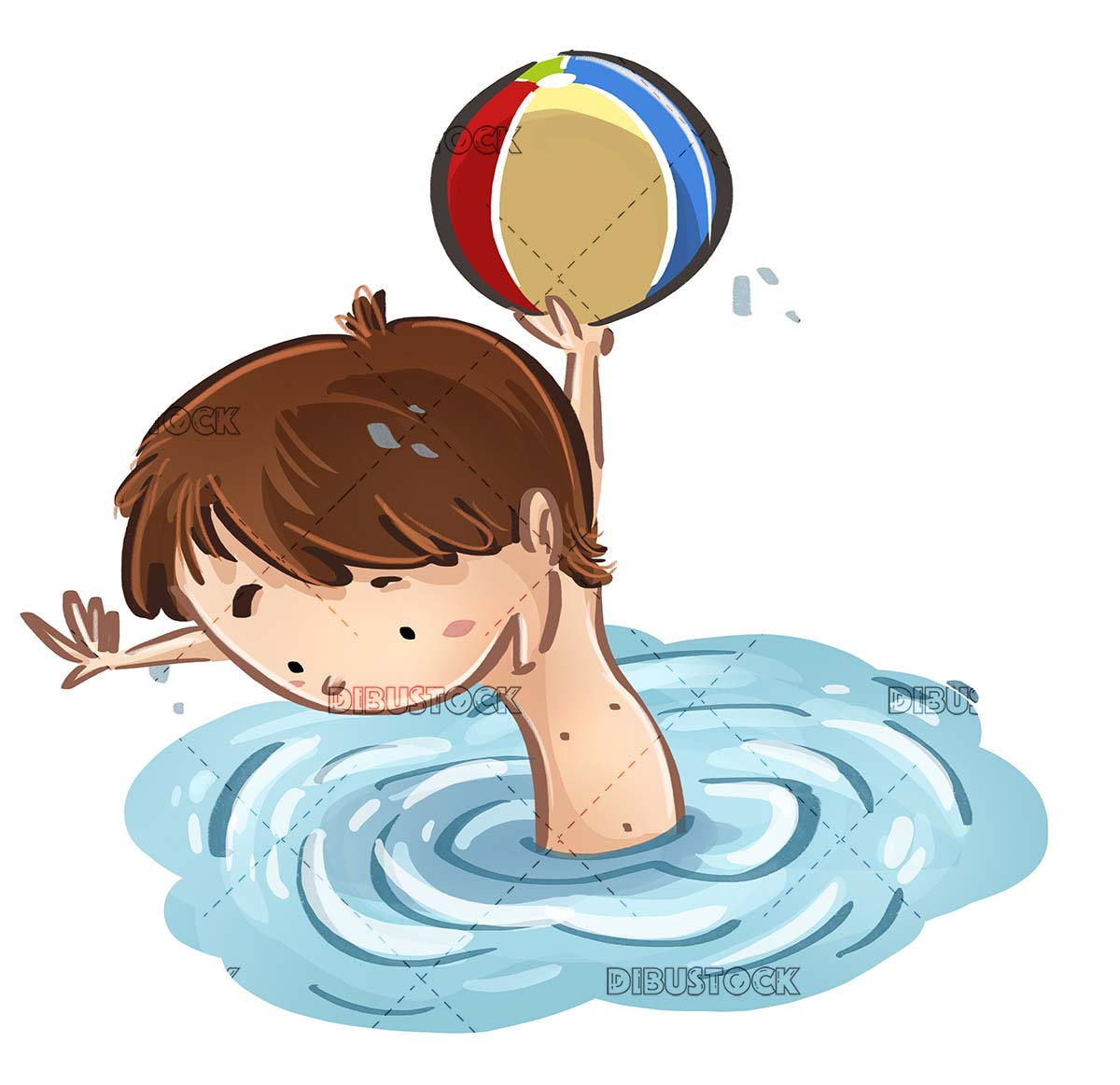 boy playing with ball in the water