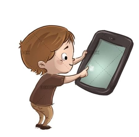 boy pointing with a finger on the tablet 1