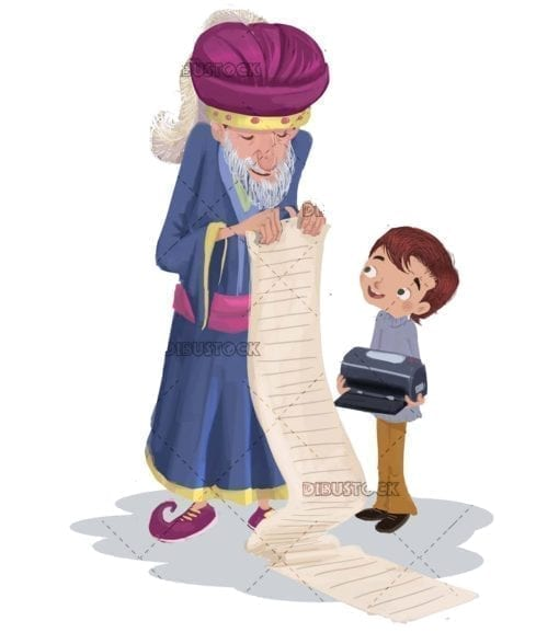 boy printing a list of gifts for the magic kings