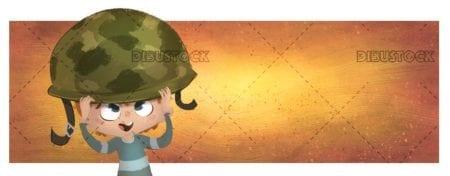 boy putting on an army helmet on orange background