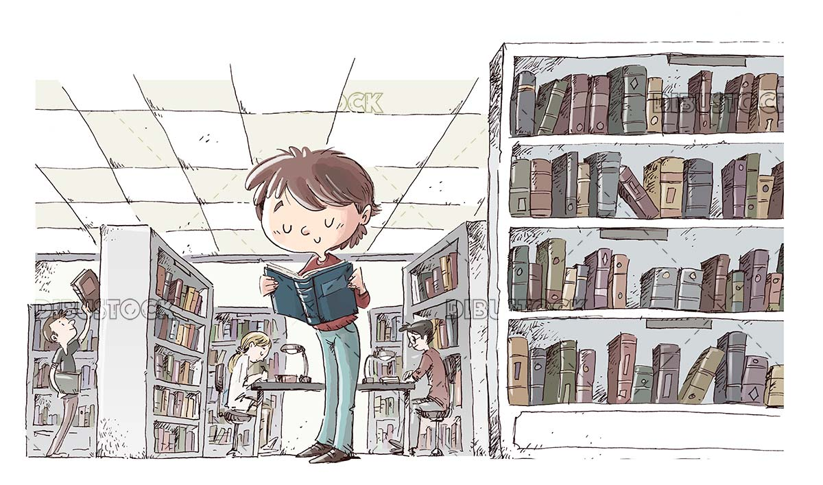 boy reading a book in a library full of books