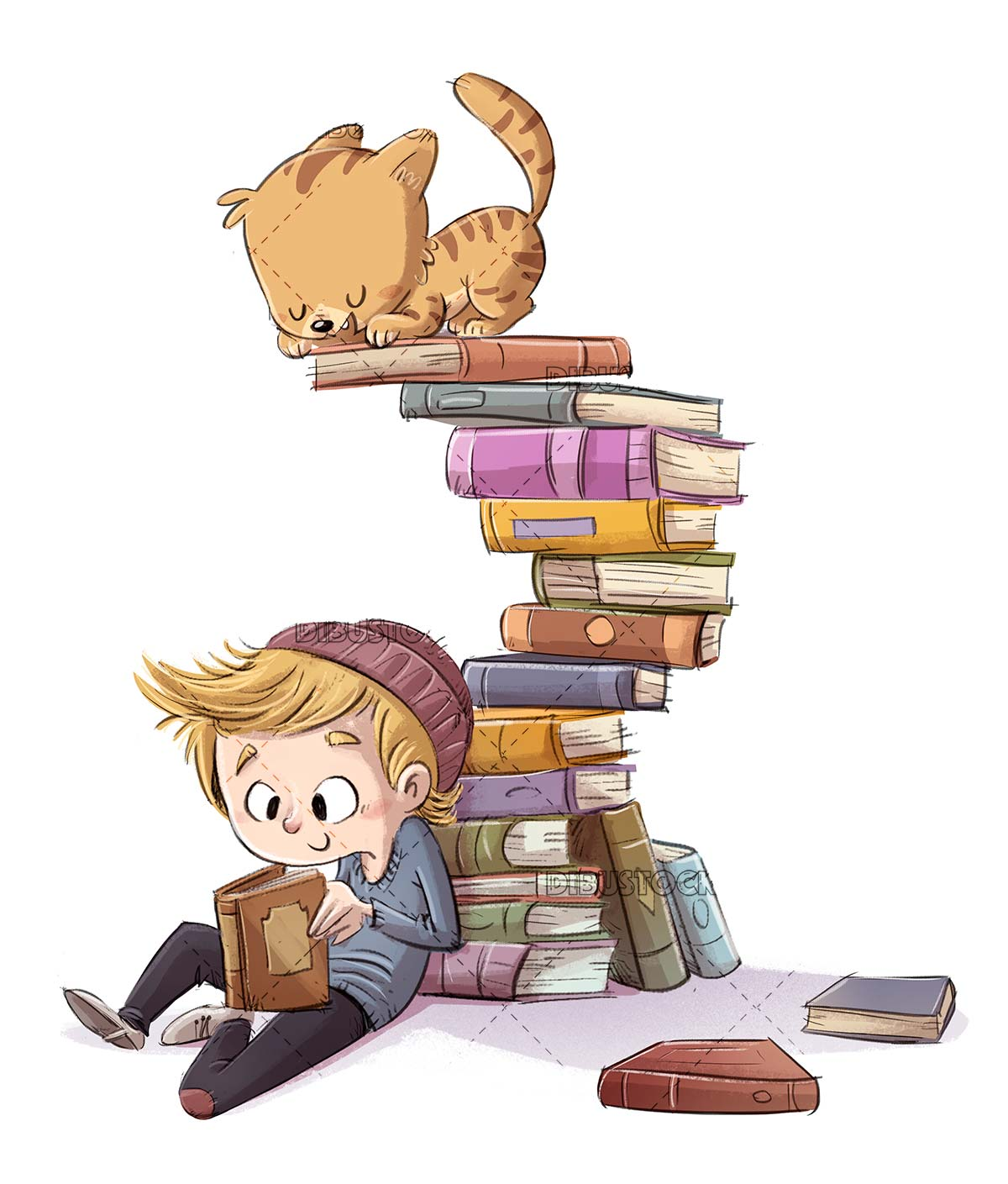 boy reading a book with cat on top of many books