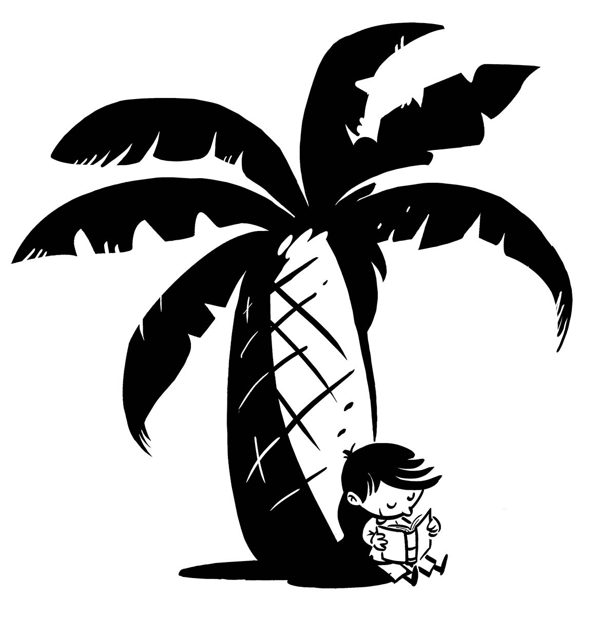 boy reading leaning on a palm tree in black line