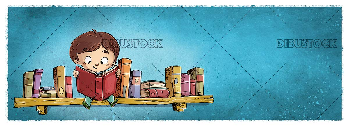 boy reading sitting on a bookshelf full of books on blue background