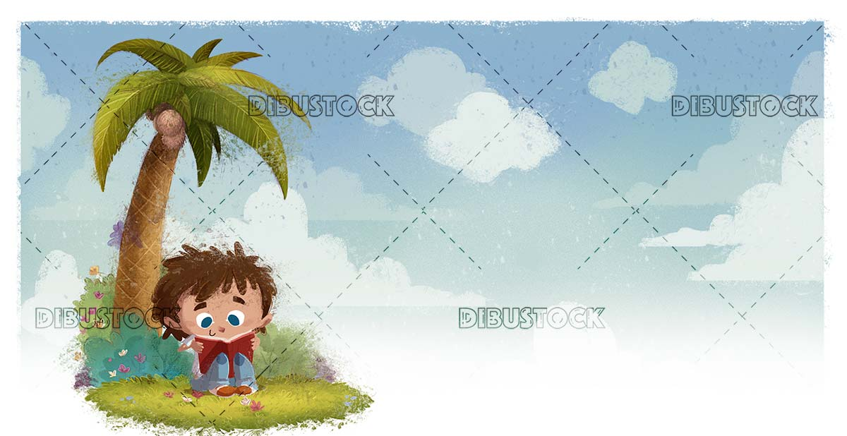 boy reading under a palm tree with sky in the background