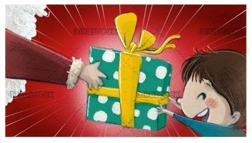 boy receiving a gift from santa claus textured background