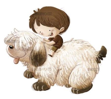 boy riding his big hairy dog