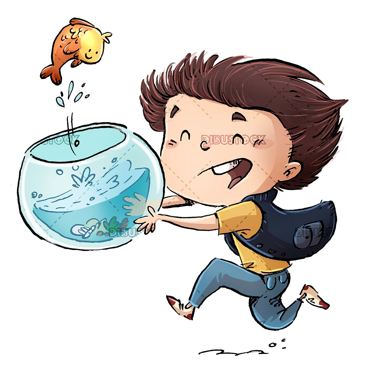 boy running with fishbowl in hands and fish jumping