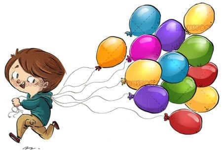 boy running with many colored balloons
