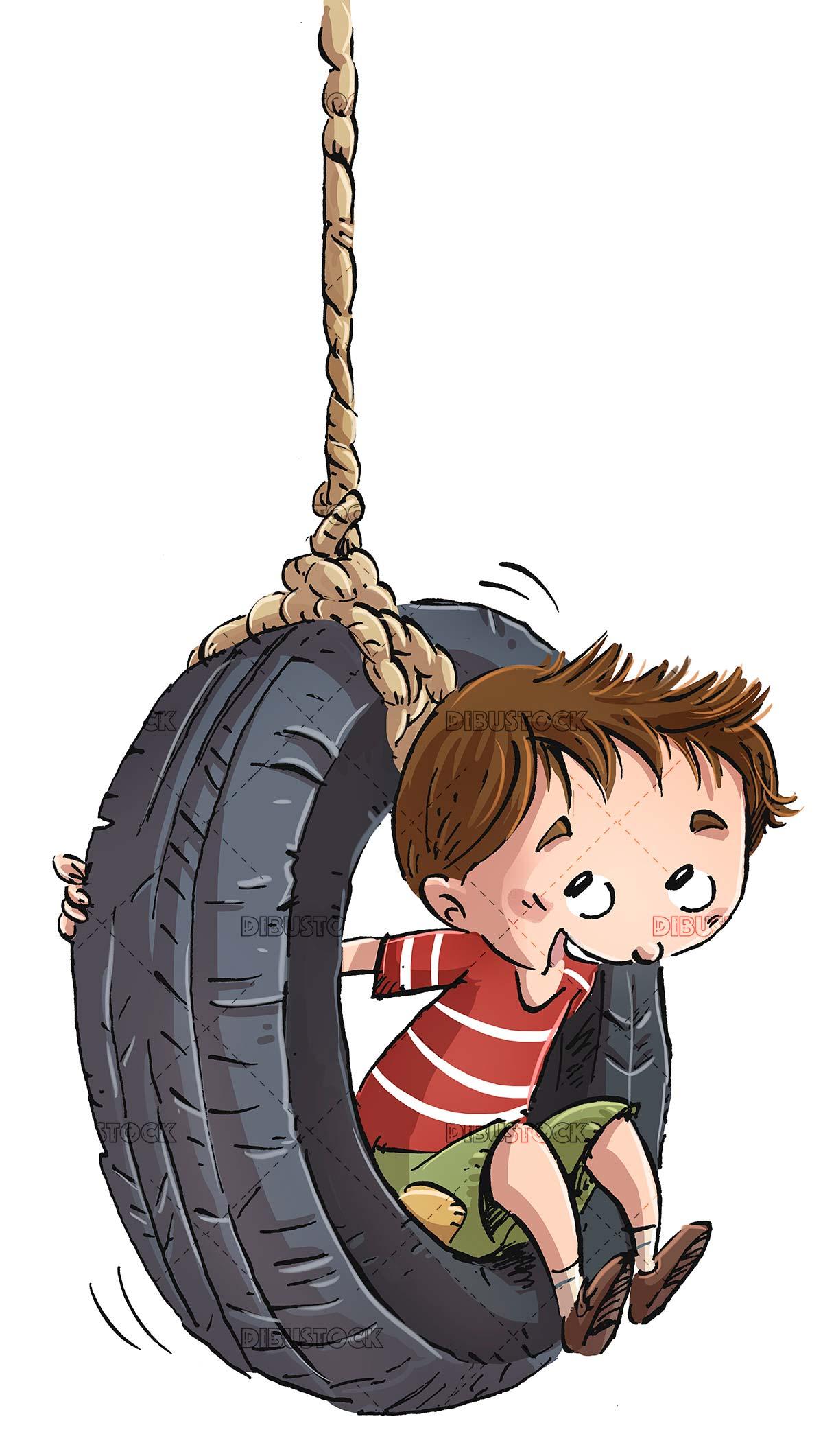 boy sitting on a car wheel as if it were a swing