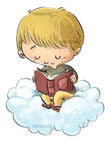 boy sitting on a cloud reading a concentrated book