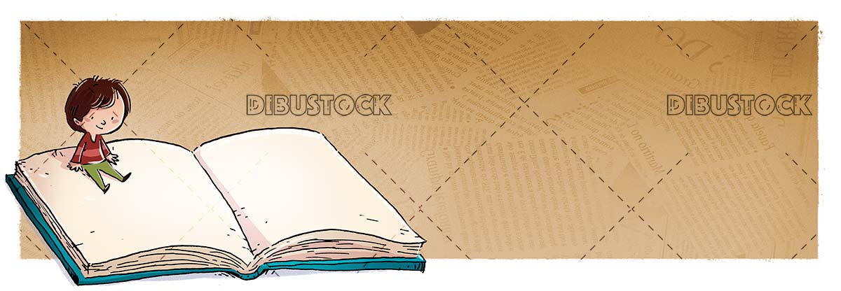boy sitting on giant book with textured background