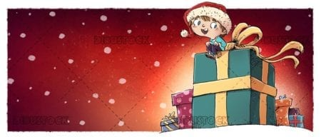 boy sitting on giant gift at christmas and snowing background