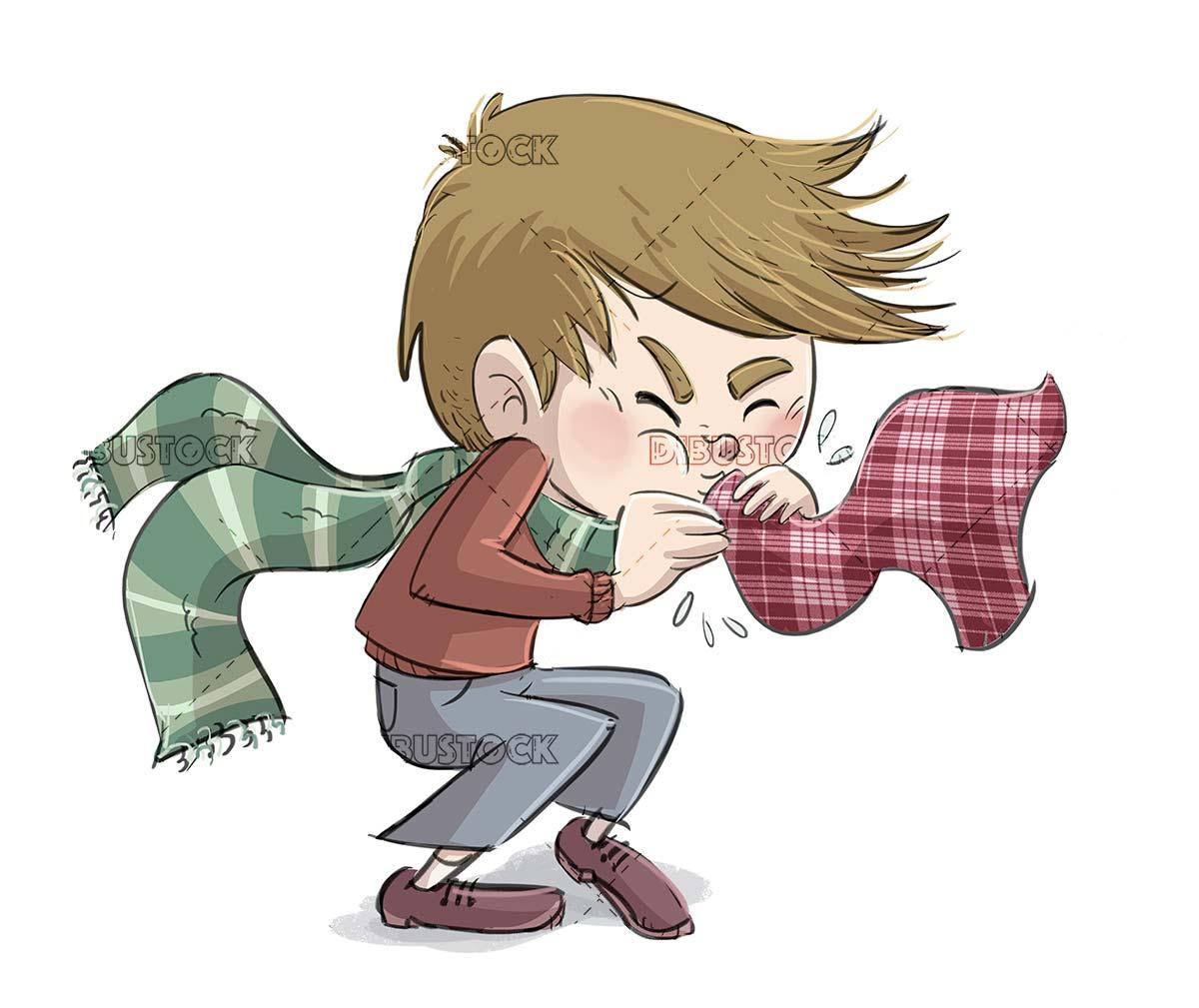 boy sneezing exaggeratedly isolated