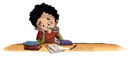 boy studying demotivated with books