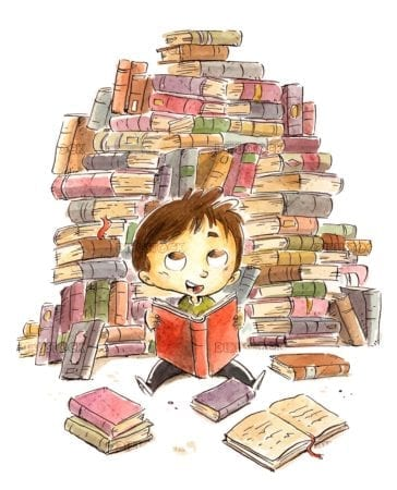 boy surrounded by many books reading sitting and happy