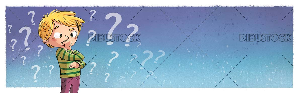 boy thinking with background question marks symbols