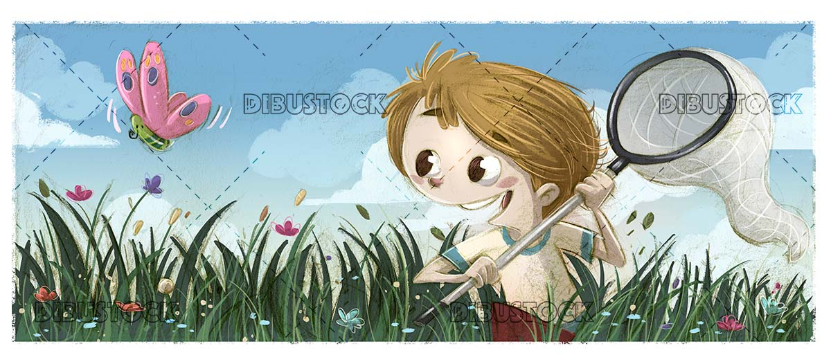 boy trying to hunt a butterfly in the field