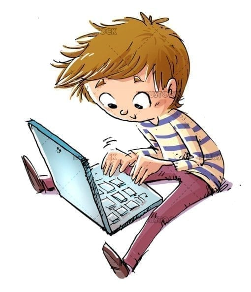 boy typing with the computer sitting on the floor