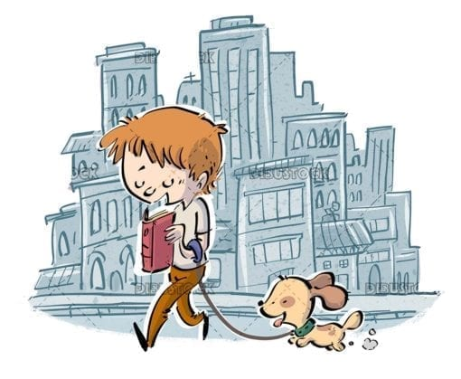 boy walking his dog through the city while reading a book