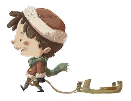 boy walking with sled on isolated background