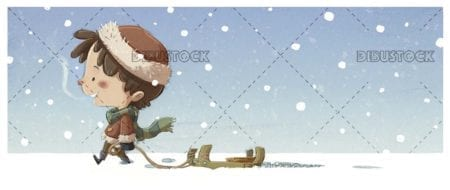 boy walking with sled through the snow