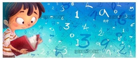 boy with book reading with blue background with numbers