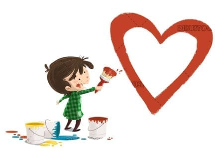 boy with brush and paint painting a heart