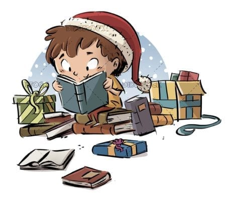 boy with christmas presents reading a book isolated