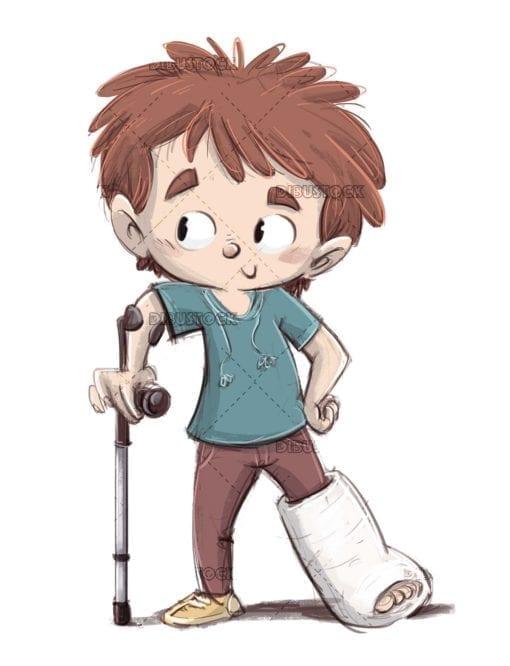 boy with crutch and plaster leg