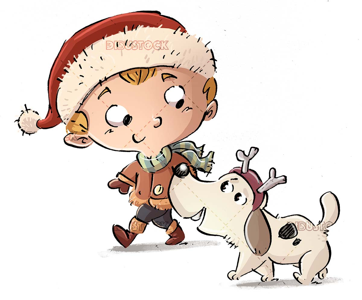 boy with dog walking at christmas