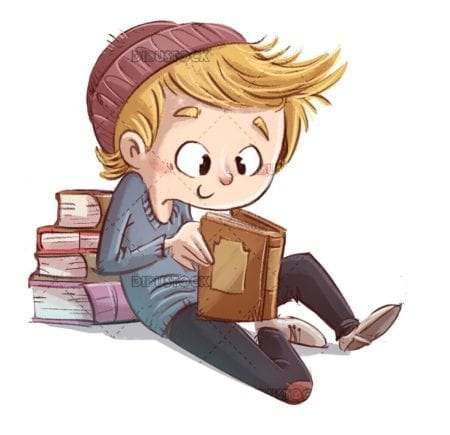 boy with hat reading a book