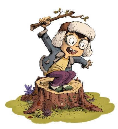 boy with hat up on a log and playing 1