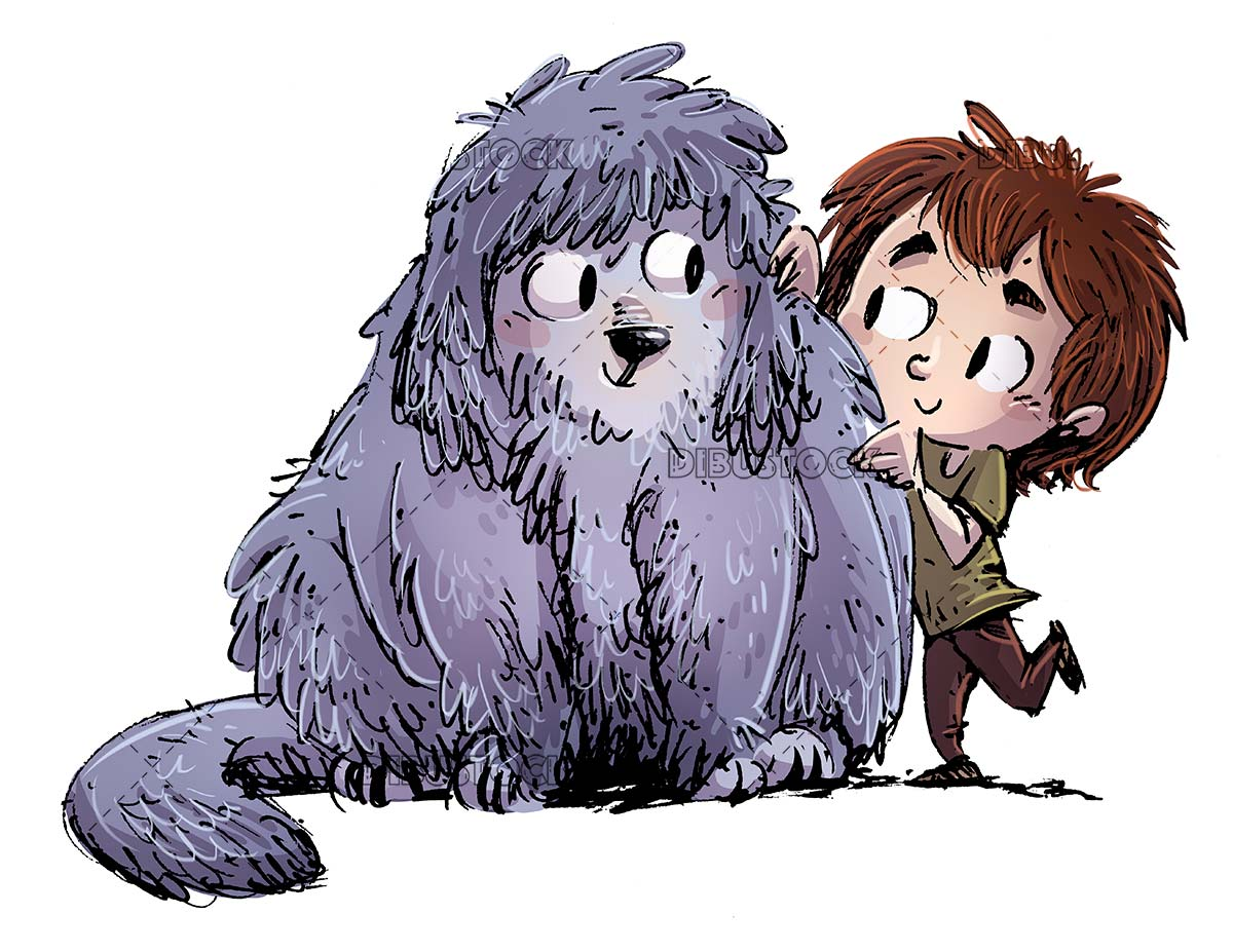 boy with his big hairy dog