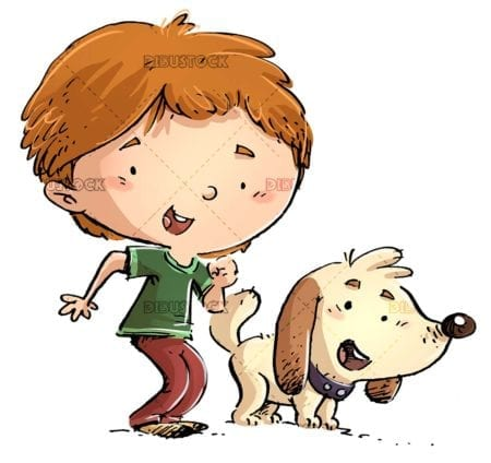 boy with his dog in funny pose