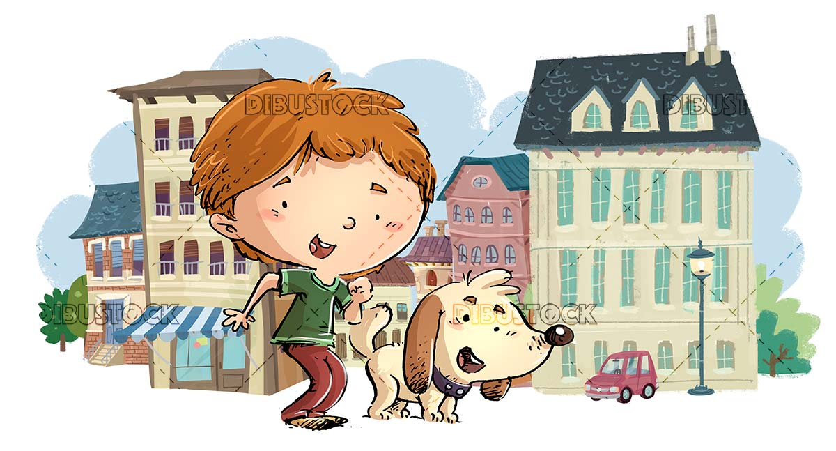 boy with his dog in the middle of the city