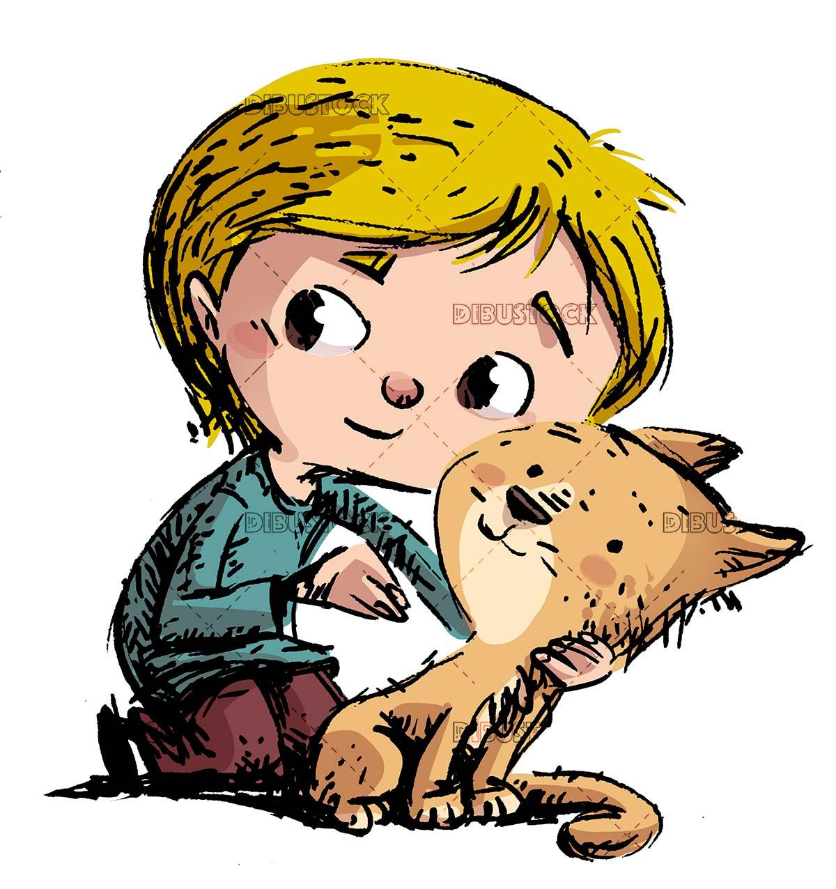 boy with his orange cat isolated