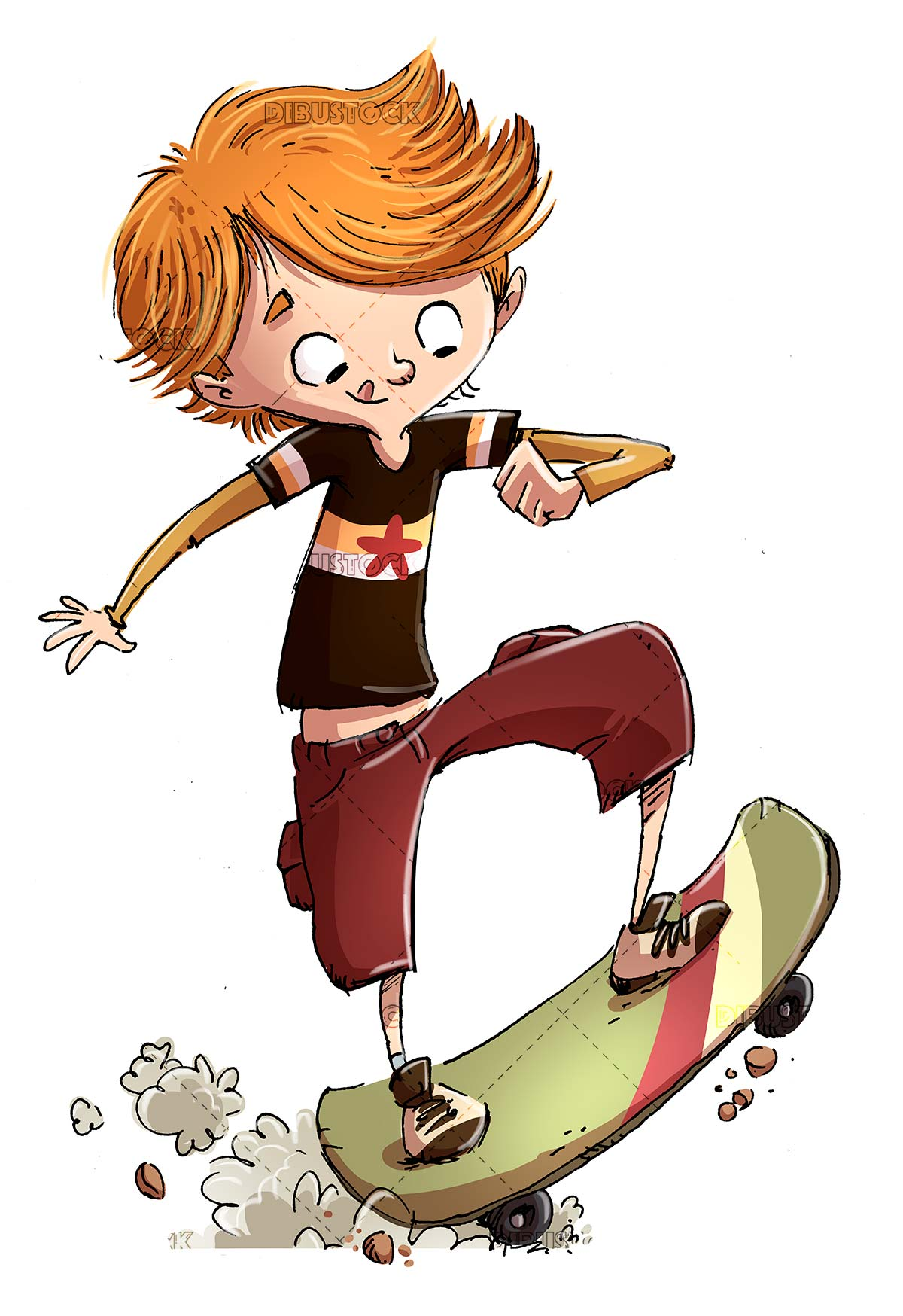 boy with skateboard doing pirouettes