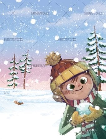 boy with snowball in hands and snowy forest