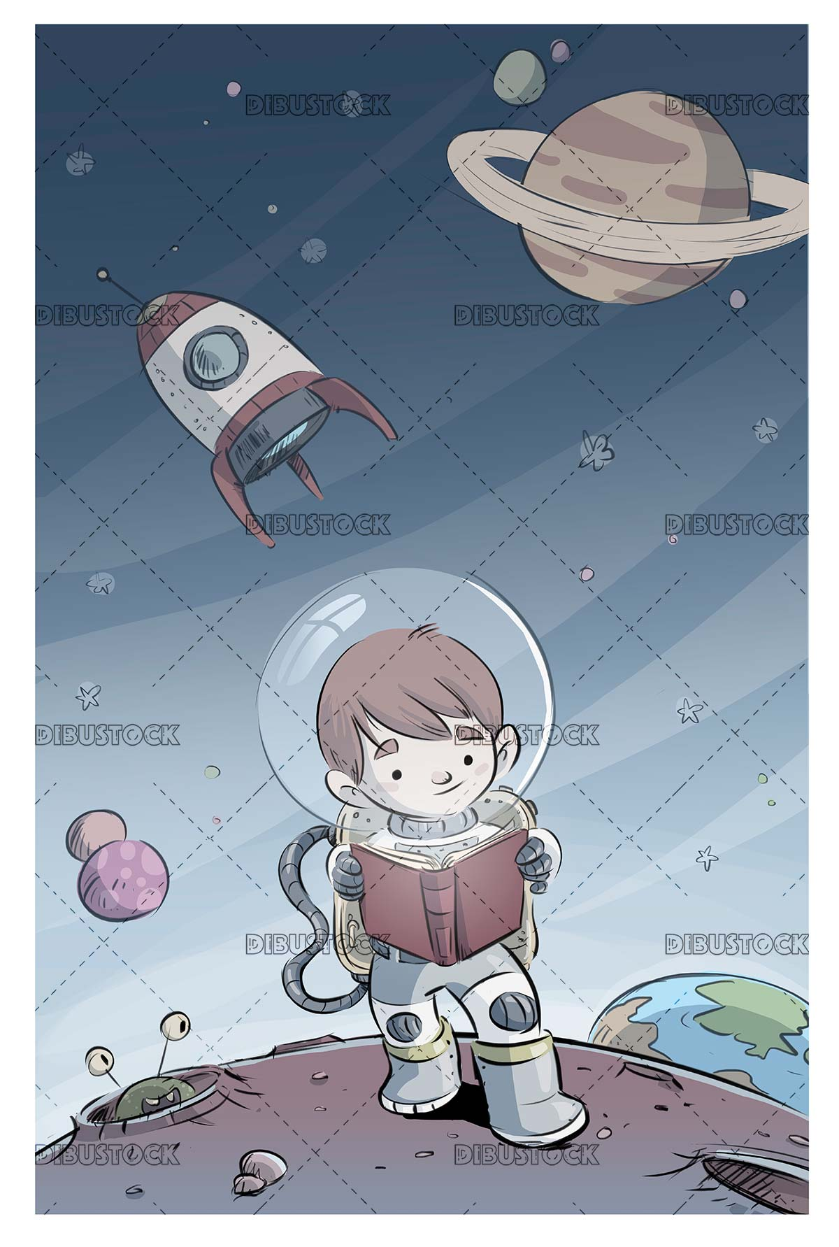 boy with spacesuit reading on a planet