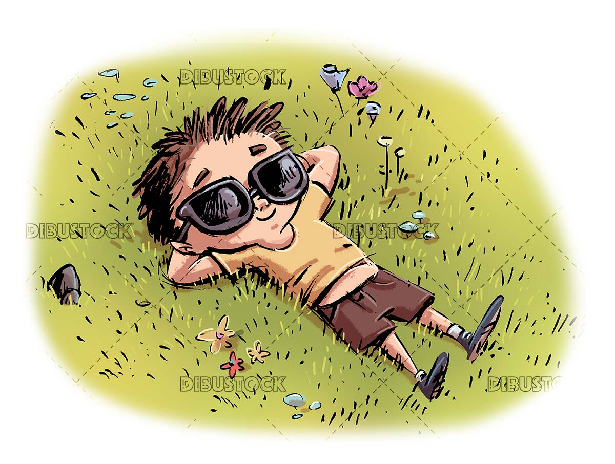 boy with sunglasses sunbathing in the meadow