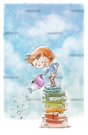 boy with watering can on top of books with blue sky in the background